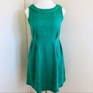Kelly Green Bateau Collar Linen Sheath Dress